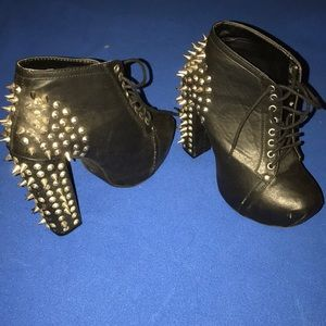 Spiked, lace up , black booties
